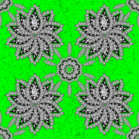 Ornamental floral elements with henna tattoo, stickers, mehndi and yoga design, cards and prints. Pattern on green background with white elements. Vector white mehndi pattern.