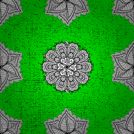 Damask classic pattern. Vector abstract background with repeating elements. Pattern on green background with white elements. Illustration