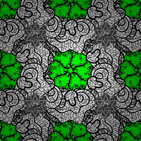 new years: A Vector pattern background sketch with antique floral medieval decorative 3d flowers, leaves and white pattern ornaments. White on green background. Royal luxury white baroque damask vintage. Illustration