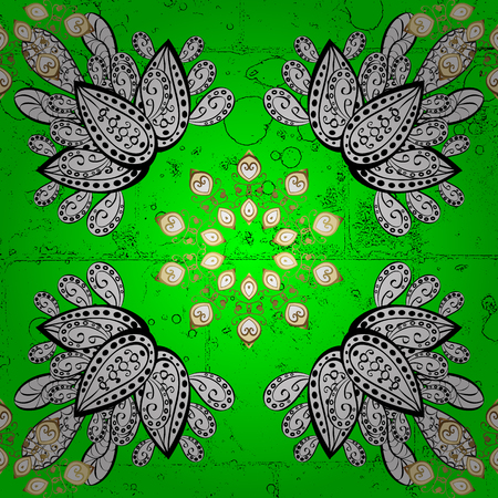 Vector abstract background with repeating elements. White on green background. Oriental classic white pattern.
