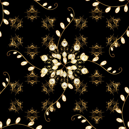 Vector golden floral ornament brocade textile and glass pattern. Black background with golden elements. Gold metal with floral pattern. Seamless golden pattern.