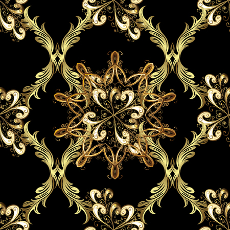 Golden seamless pattern on black background with golden elements. Seamless vintage pattern on black background with golden elements. Christmas, snowflake, new year.