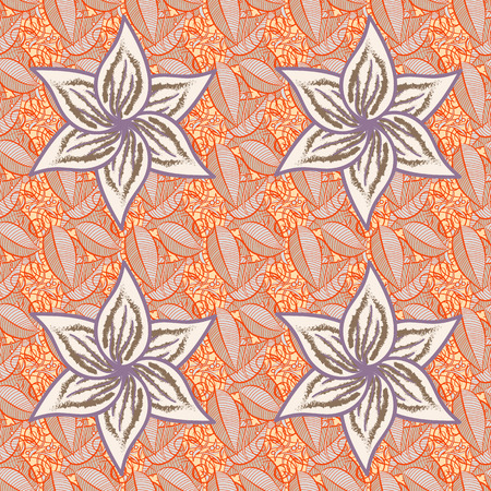 Flower pattern vector, line graphic pattern abstract vector background. Modern stylish texture.