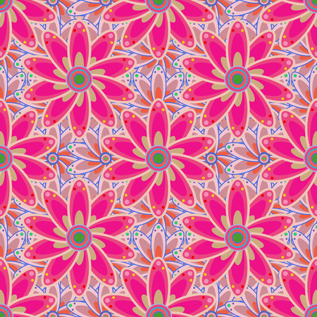 Modern floral background. Amazing seamless floral pattern with bright colorful flowers and leaves on a colored background. The elegant the template for fashion prints. Folk style.