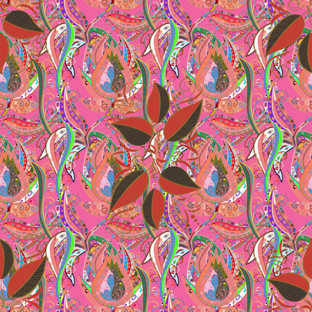 vintage postcard: Folk style. Amazing seamless floral pattern with bright colorful flowers and leaves on a colorful background. Modern floral background. The elegant the template for fashion prints.
