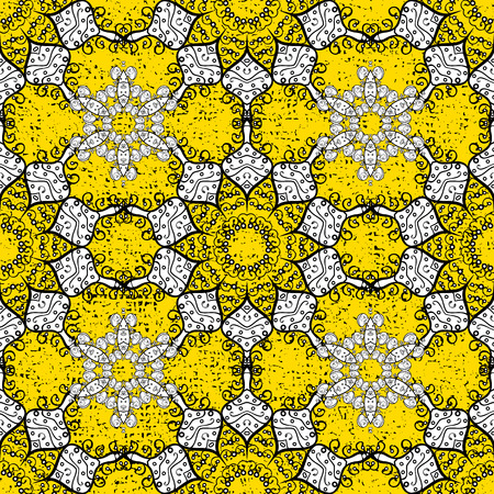 White pattern on a yellow background with white elements. Vector vintage baroque floral seamless pattern in white. Luxury, royal and Victorian concept. Ornate decoration.