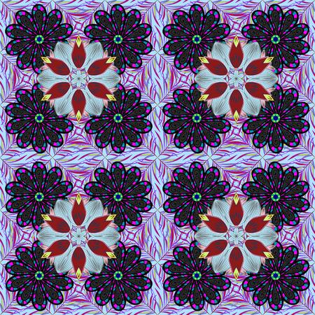 フラット フラワー要素デザイン。シームレスな派手生地パターン。ベクトルの図。春のテーマのシームレスなパターンの背景色します。花のパター