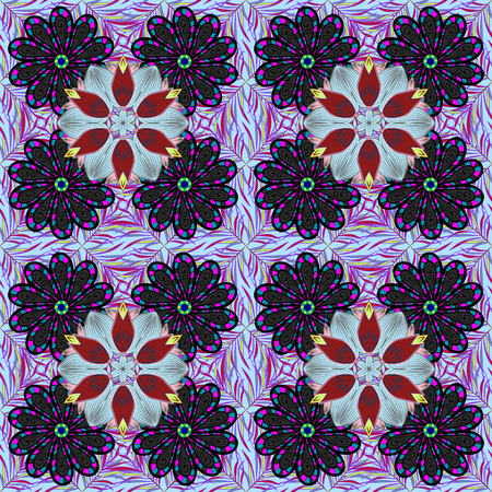 Flat Flower Elements Design. Seamless Chichi fabric pattern. Vector illustration. Colour Spring Theme seamless pattern Background. Flowers pattern.