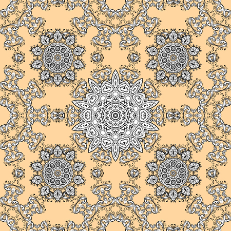 Ethnic, floral, retro, doodle, vector, tribal design element. Seamless pattern for adult coloring book. Floral doodle. Beige background. Фото со стока - 86158191