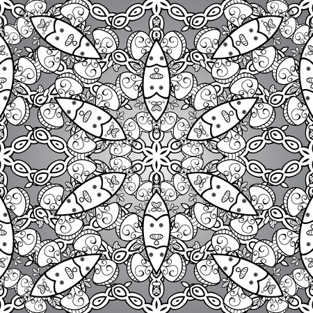 Traditional vector and white pattern. Classic oriental pattern over background. Damask seamless ornament.