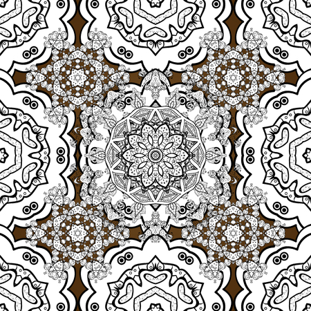construction: Floral classic texture. Seamless pattern white elements. Design vintage for card, sketch, wrapping, textile. Royal retro on background. Vector illustration. White template.