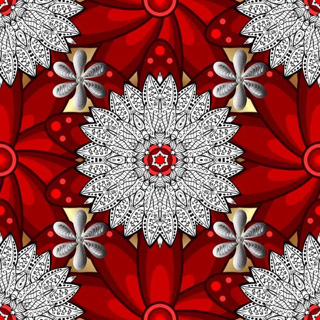 Vector illustration. Damask white abstract flower seamless pattern on background. Ornate decoration. Illustration