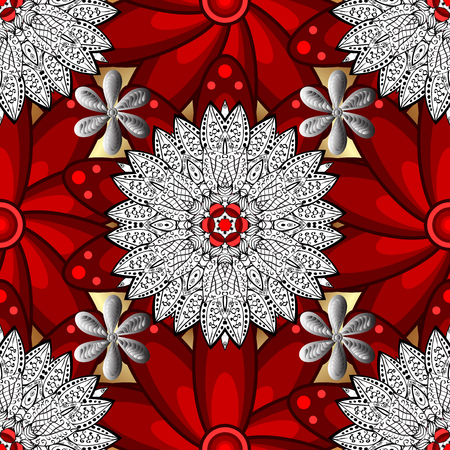 Vector illustration. Damask white abstract flower seamless pattern on background. Ornate decoration. Çizim