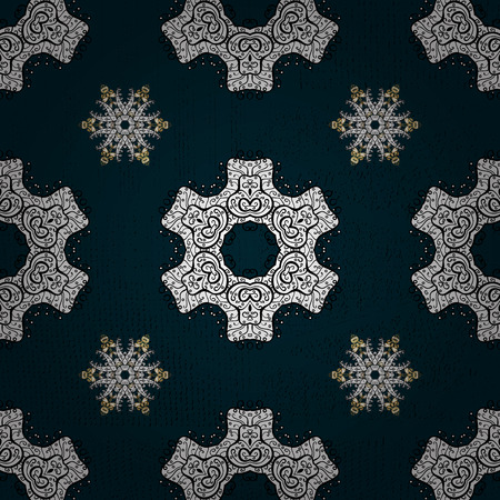 tile: Ornate decoration. White pattern on blue background with white elements. Luxury, royal and Victorian concept. Vector vintage baroque floral pattern in white. Illustration