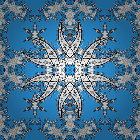 tile: Vector white pattern on blue background. Abstract sketch, wrapping decoration. White snowflake simple seamless pattern. Symbol of winter, Merry Christmas holiday, Happy New Year 2018.