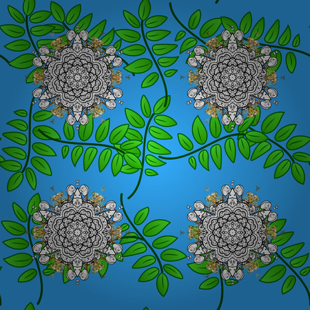 royals: Gray element on blue background. Eastern style element. Gray outline floral decor. Line art seamless border for design template. Vector illustration for invitations, cards, web page.