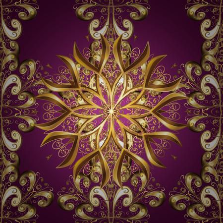 royals: Vector illustration. Damask gold abstract flower seamless pattern on dark background. Ornate decoration.