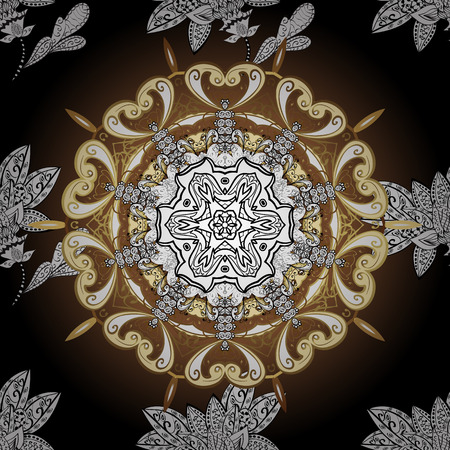 royals: Traditional classic golden vector pattern on colorful background with golden elements. Oriental ornament in the style of baroque.
