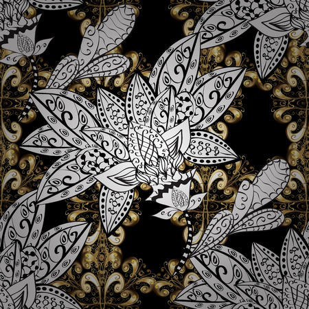 Seamless classic vector golden pattern. Floral ornament brocade textile pattern, glass, metal with floral pattern on black, white and gray colors with golden elements.