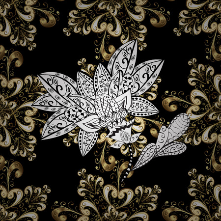 Carving. Black tree with gold trim. Patina. Pattern on black background with golden elements. Seamless element woodcarving. Small depth of field. Luxury furniture. Furniture in classic style.