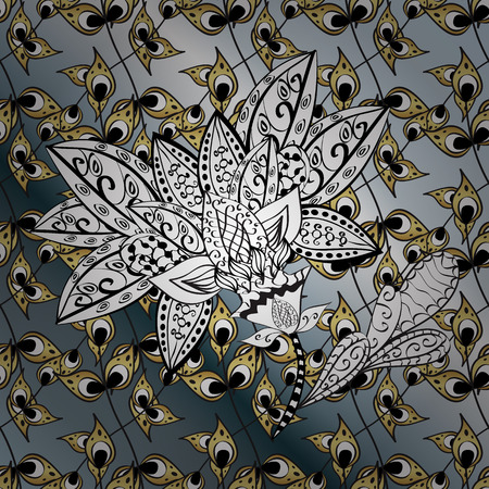 Pattern on gray, black colors with golden elements. Vector golden mehndi ornamental pattern. Ornamental floral elements with henna tattoo, golden stickers, mehndi and yoga design, cards and prints.
