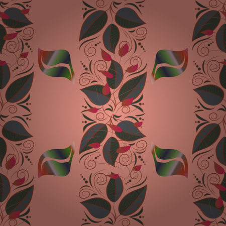 Neutral, brown and green round texture in Vector illustration. Floral ornament seamless pattern. Çizim