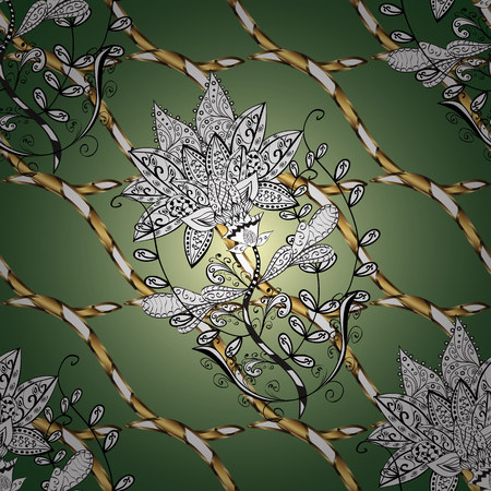 Ornamental classic vector golden pattern. Floral ornament brocade textile pattern, glass, metal with floral pattern on green, white and neutral colors with golden elements.
