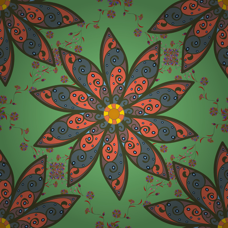 Flowers on green, neutral and orange. Seamless background pattern. Watercolor, hand drawn. Vector stock.