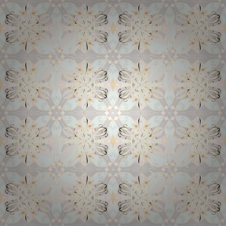 Vector watercolour floral pattern, delicate flowers, neutral, gray and beige flowers, greeting card template. Vector Beautiful fabric pattern. Çizim