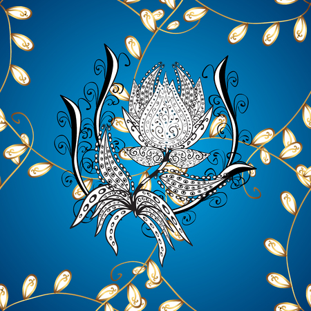 Vector golden floral ornament brocade textile pattern, white doodles. Metal with floral pattern. Ornamental golden pattern. Blue, white and gray colors with golden elements. Illustration