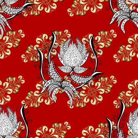 Classic vintage background. Ornamental classic vector red, white and beige and golden pattern. Traditional orient ornament with white doodles. Illustration