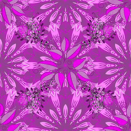 Flowers on purple, magenta and pink colors. Seamless Floral Pattern in Vector illustration.