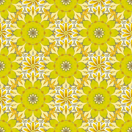 Vector Mandala with hand drawn elements and flowers in Arabic, Indian, turkish, pakistan, ottoman motifs. Tattoo, decorate plates, porcelain, ceramics, crockery. Eps 10. Yellow, white and neutral.