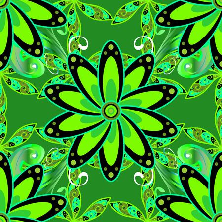 Colour Summer Theme seamless background. Flat Flower Elements Design. Cute flower vector pattern. Seamless pattern Fashionable fabric pattern. Illustration