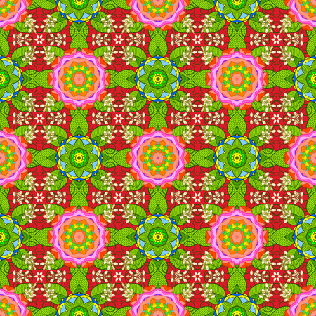 Floral seamless pattern with bright summer flowers in green, red, orange colors. Endless vector texture for romantic design, decoration, greeting cards, posters, wrapping, for textile print and fabric
