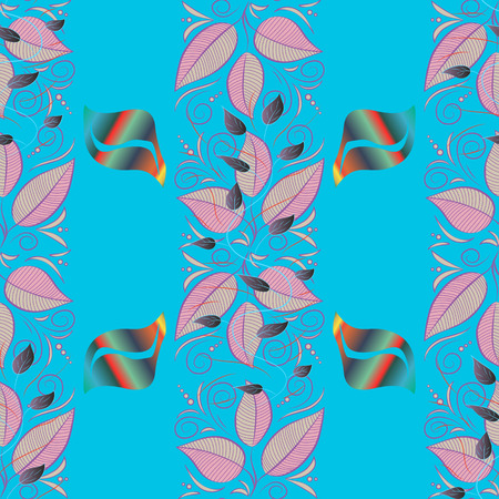 Elegant, bright and seamless blue, beige and purple flower pattern design. It can be used on mug prints, baby apparels, sketch, wrapping boxes etc. Illustration