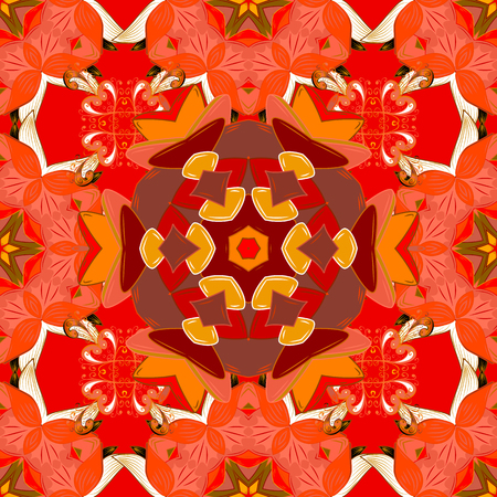 admirable: Mandala colored, tribal vintage background with a medallion. Pattern with abstract art flower. Bohemian decorative element, indian henna design, retro circle ornament on orange, red and brown.
