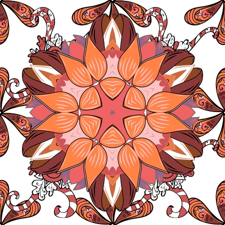 Vector illustration. On white, orange and pink colors. A pattern of white, orange and pink daisies on a white, orange and pink colors.
