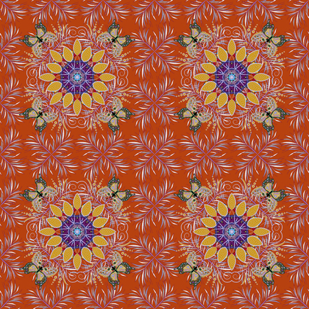 Seamless pattern with colorful paisley, orange, neutral and red flowers and decorative elements. Seamless background. Vector illustration. For print on fabric, textiles, sketch. Vintage retro style