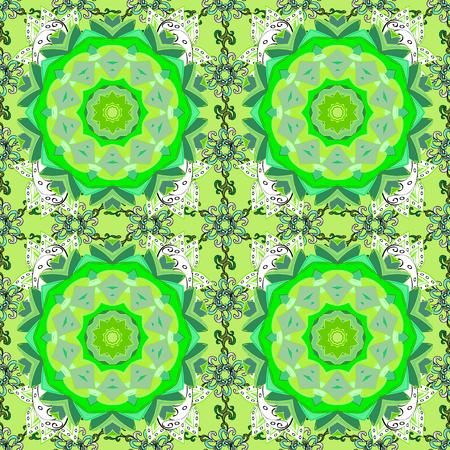 Vector sin patrón floral. Flores del valle en colores verdes, blancos y neutrales. Foto de archivo - 87767714