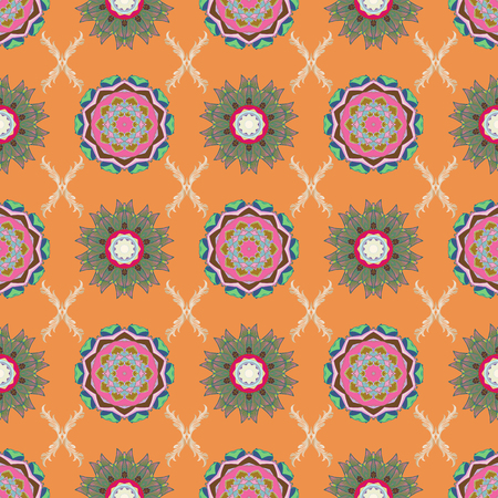 Seamless Floral Pattern in Vector illustration. Flowers on orange, green and pink colors. Colour Summer Theme seamless pattern Background. Flat Flower Elements Design.