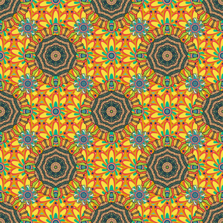Elegant vector texture with floral elements. Cute floral pattern in the small flower. Abstract seamless pattern on yellow, orange and green colors with bright flowers. Ilustração