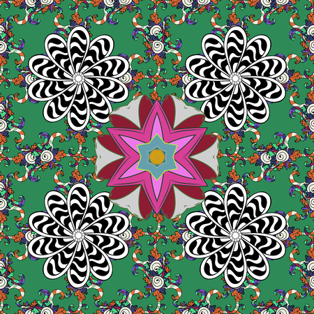 Colorful ornamental border. Seamless pattern. On green, black and white colors. Floral sketch. Indian ornament. Vector illustration. Illustration