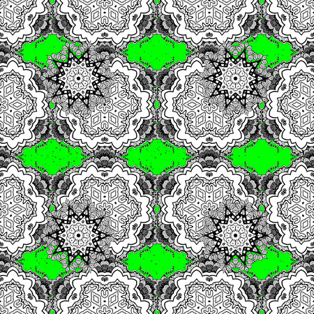 ?attern on green and white background with white elements. White texture curls. Openwork delicate pattern. Vector. Oriental style arabesques. Brilliant lace, stylized flowers, paisley. Illustration