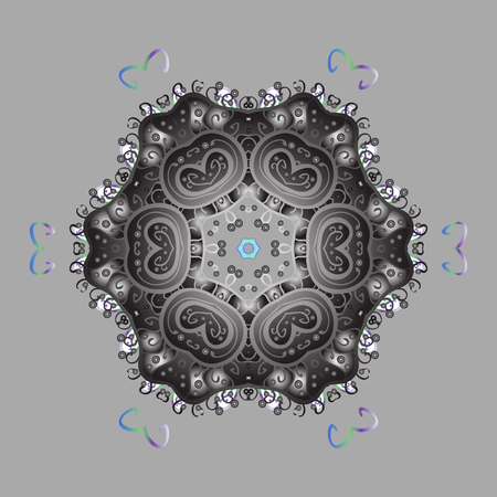 Snowflake ornamental pattern. Vector illustration. Flat design with abstract snowflakes isolated on colorful background. Snowflakes background. Snowflakes pattern.