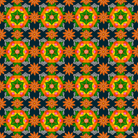 Retro textile design collection. Silk scarf with blooming flowers. Orange, blue, green on orange, blue and green. 1950s-1960s motifs. Abstract seamless vector pattern with hand drawn floral elements. Illustration