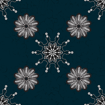 Oriental ornament in the style of baroque. Traditional classic vector white pattern. Blue and white background with white elements. Illustration