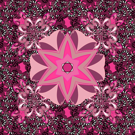 Flowers on pink, black and purple colors. Cute Floral pattern in the small flower. Illustration