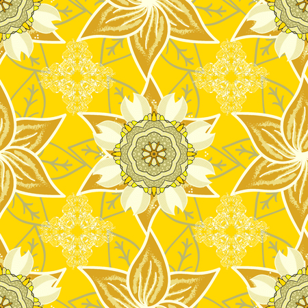 In asian textile style. Vector illustration. Vector illustration. Seamless flowers pattern. Flowers on yellow, neutral and beige colors. Illustration