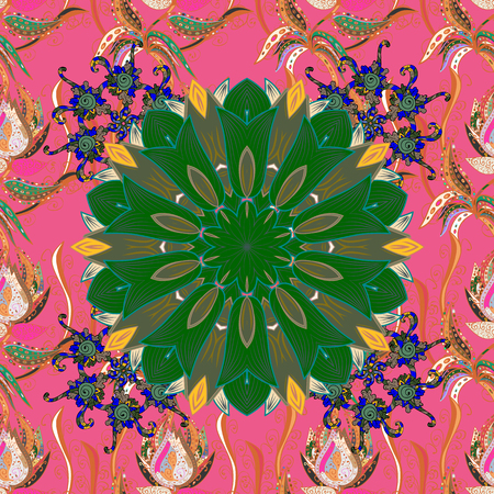 Seamless floral pattern with flowers on pink, green and orange colors. Flowers on pink, green and orange colors in watercolor style.
